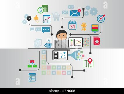 Big data, analytics and business intelligence concept. Cartoon person connected to data and information retrieved - Stock Photo