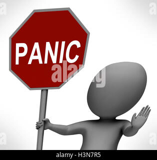 Panic Red Stop Sign Shows Stopping Anxiety Panicking - Stock Photo