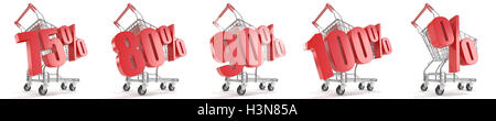 75%, 80%, 90%, 100%, % percent discount in front of shopping cart. Sale concept. 3D render illustration isolated - Stock Photo