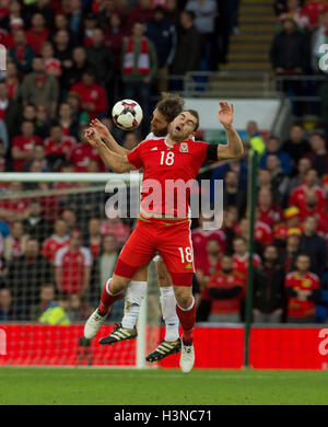 Cardiff, Wales, UK. 9th October, 2016. Sam Vokes of Wales during the FIFA 2018 World Cup Qualifier Group D match - Stock Photo
