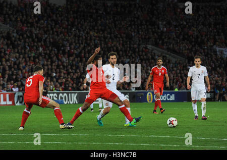 Cardiff, Wales, UK. 9th October, 2016. Ashley Williams of Wales during the FIFA 2018 World Cup Qualifier Group D - Stock Photo