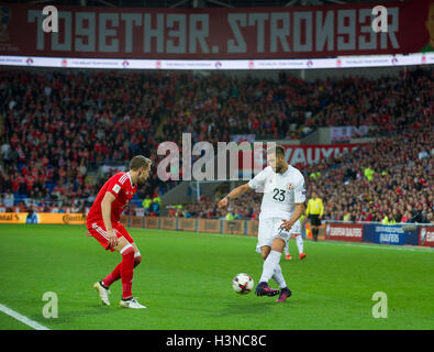 Cardiff, Wales, UK. 9th October, 2016. Levan Mchedlidze of Georgia and Chris Gunter of Wales during the FIFA 2018 - Stock Photo