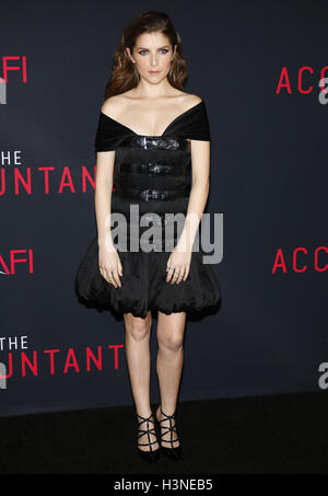 Hollywood, Los Angeles, USA. 10th October, 2016. Anna Kendrick at the Los Angeles premiere of 'The Accountant' held - Stock Photo