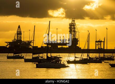 mothballed oil rigs in the santa cruz port on tenerife on