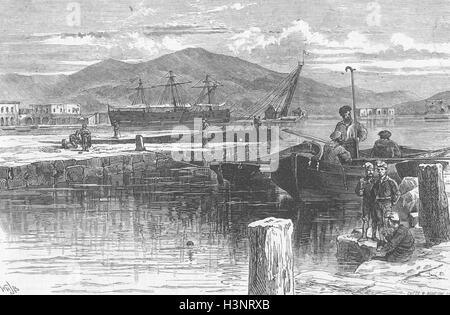 SPAIN the harbour of Cartagena 1873. The Graphic - Stock Photo