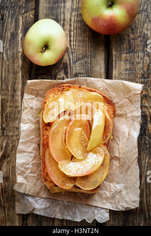 French toast with caramelized apples, top view, country style