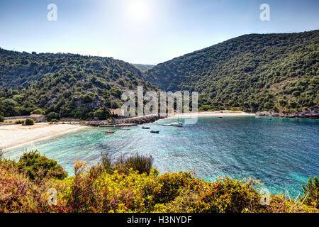 The beaches of Agia Jerusalem in Kefalonia island, Greece - Stock Photo