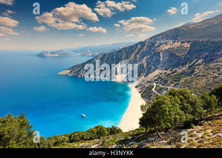 The famous beach Myrtos in Kefalonia island, Greece - Stock Photo