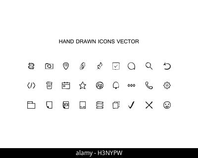 Abstract vector Hand drawn outline web icons set Office on white background - Stock Photo