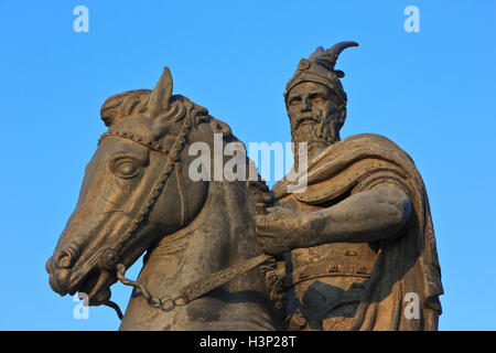 Monument to the Albanian nobleman and military commander Skanderbeg (1405-1468) in Pristina, Kosovo - Stock Photo