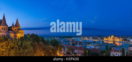 View over the Danube River towards the Hungarian Parliament from Fishermen's Bastion, Buda Castle district, Budapest, - Stock Photo