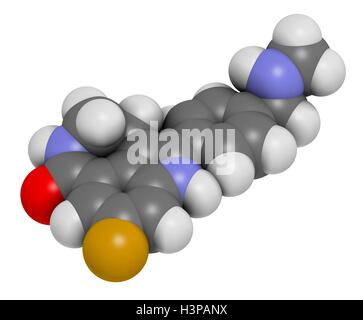 Rucaparib cancer drug molecule (PARP inhibitor). Atoms are represented as spheres with conventional colour coding: - Stock Photo