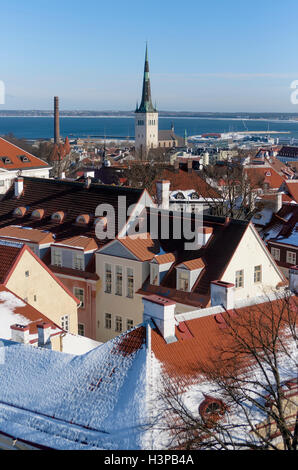 The tower of the church of St. Olaf against the Port of Tallinn and the Baltic Sea - Stock Photo