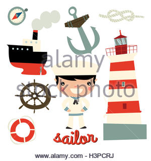 sailor boy cute character. anchor, wheel, boat, ship, rope, lighthouse - Stock Photo