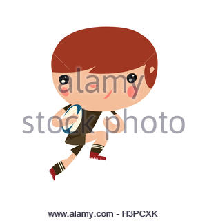rugby kid. cute cartoon character running with a ball. - Stock Photo