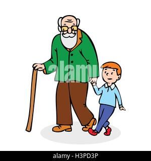 Grandfather with grandson. Funny old man with walking cane and with boy. Colorful cartoon vector illustration on - Stock Photo