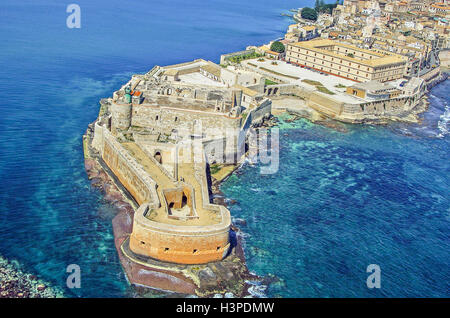 Aerial view of Maniace fortress in Syracuse Sicily - Stock Photo