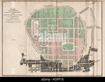Leverton & Chawner's Regent's Park plan. Marybone Park Farm. Marylebone 1815 map - Stock Photo