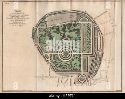 John Nash's original Regent's Park plan. Marybone Park Farm. Marylebone 1815 map - Stock Photo
