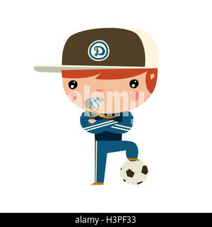 cute cartoon soccer coach. flat style football player - Stock Photo