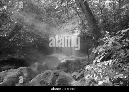 Tanyard Creek waterfall in Bella Vista, Arkansas - Stock Photo