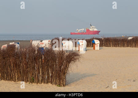 beach, Cuxhaven-Doese, Wurster Land, Lower Saxony, Germany - Stock Photo