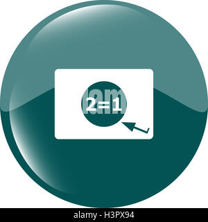 Two for one sign icon. Take two pay for one sale web button. 2 equals 1 - Stock Photo