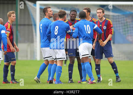 Tempers flare during the first half - Grays Athletic vs Romford - FA Cup 1st Qualifying Round Football at Mill Field, - Stock Photo