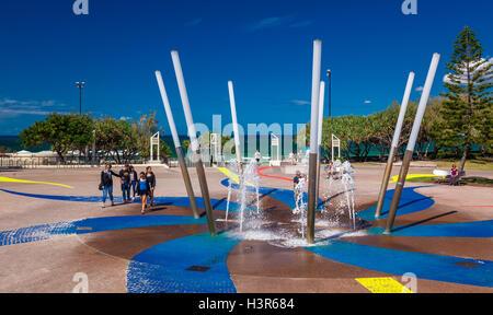 CALOUNDRA, AUS - AUG 13 2016: Hot sunny day at Kings Beach Calundra, Queensland, Australia - Stock Photo