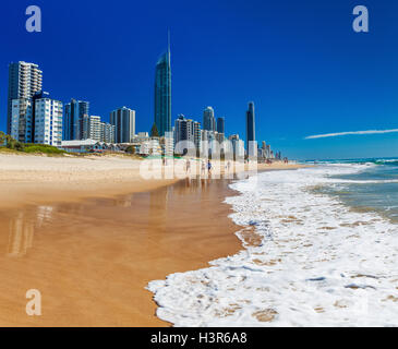 SURFERS PARADISE, AUS - SEPT 05 2016 Skyline and a beach of Surfers Paradise, Gold Coast. It one of Australia's - Stock Photo