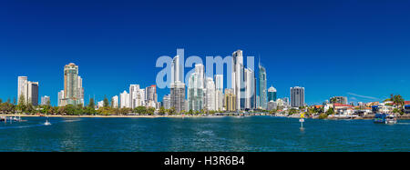 SURFERS PARADISE, AUS - SEPT 05 2016 Panoramic skyline of Surfers Paradise, Gold Coast. It one of Australia's iconic - Stock Photo