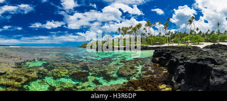Coral reef perfect for snorkeling on south side of Upolu, Samoa Islands. - Stock Photo