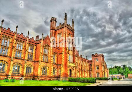 View of Queen's University in Belfast - Northern Ireland - Stock Photo