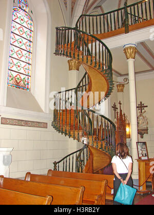... Santa Fe, New Mexico USA; The Miraculous Spiral Staircase In The  Loretto Chapel   Stock Photo