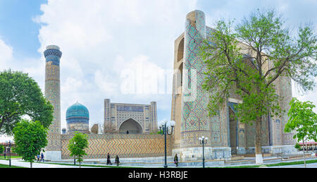 Bibi-Khanym Mosque is the famous architectural complex, located in the old town, Samarkand, Uzbekistan. - Stock Photo