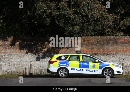 General view of a police car parked in Bognor Regis, West Sussex, UK. - Stock Photo