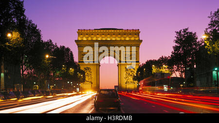 Arc de Triomphe, Champs Elysees, Paris, France - Stock Photo