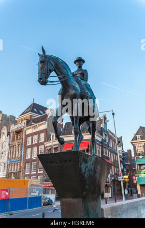 AMSTERDAM, NETHERLANDS - APRIL 3, 2008: The equestrian statue of Queen Wilhelmina  located on Rokin street - Stock Photo