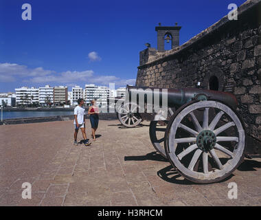 Spain, Lanzarote, Arrecife, Castillo, San Gabriel, cannons, visitors, outside, Canary islands, island, town, town - Stock Photo