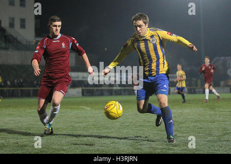 Kurt Smith of Romford and Same West of Brentwood - Romford vs Brentwood Town - Ryman League Division One North Football - Stock Photo