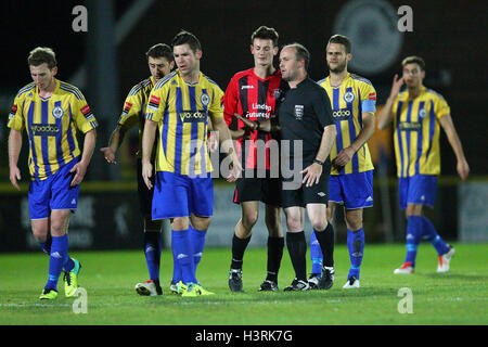 Tempers flare during the first half - Romford vs Chatham Town - Ryman League Division One North Football at Ship - Stock Photo