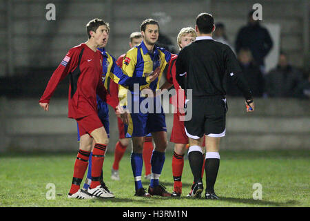Tempers flare during the first half - Romford vs East Thurrock United - Ryman League Division One North Football - Stock Photo