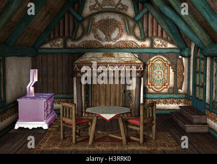 3D rendering of a fairytale cottage interior - Stock Photo