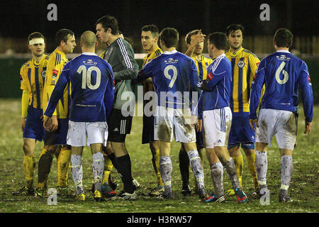 Tempers flare during the first half - Wroxham vs Romford - Ryman League Division One North Football at Trafford - Stock Photo
