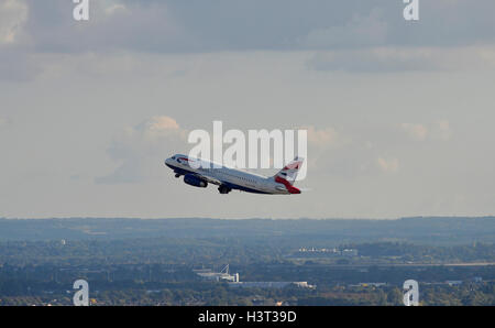 A British Airways aircraft takes off from London's Heathrow Airport. - Stock Photo