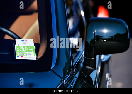 VTC licence on a car in Paris France - Stock Photo