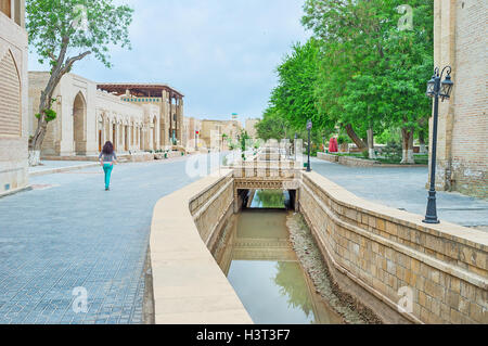 The sleepy old town is completely empty in the early morning, Bukhara, Uzbekistan. - Stock Photo