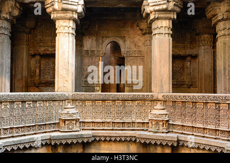 Dada Hari ni Vav stepwell is a Hindu water building in the village of Adalaj, close to Ahmedabad town in state of - Stock Photo