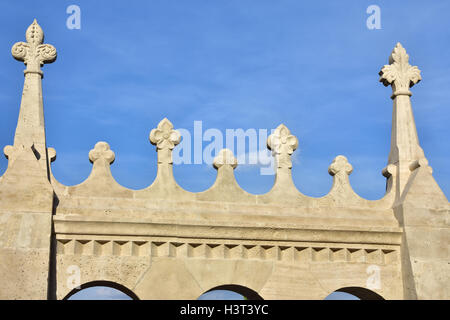 Detail of Fisherman's Bastion beautiful romanesque bastion in Budapest built at the end of 19th century - Stock Photo