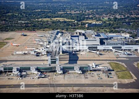 London Gatwick Airport Crawley Surrey aerial view - Stock Photo